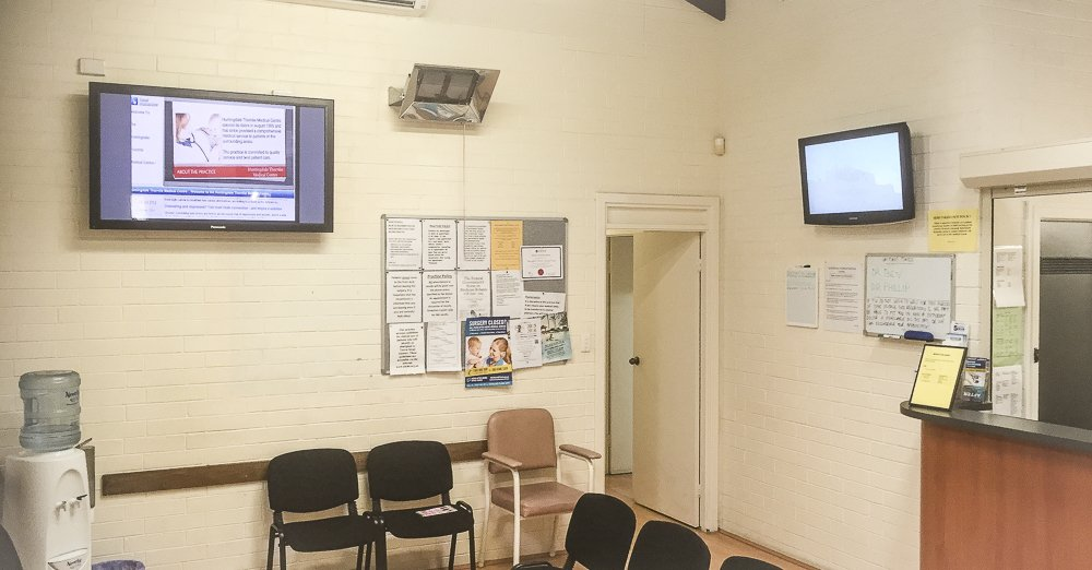 T.V mount job in Doctors office in thornlie, one for T.V one for advertising