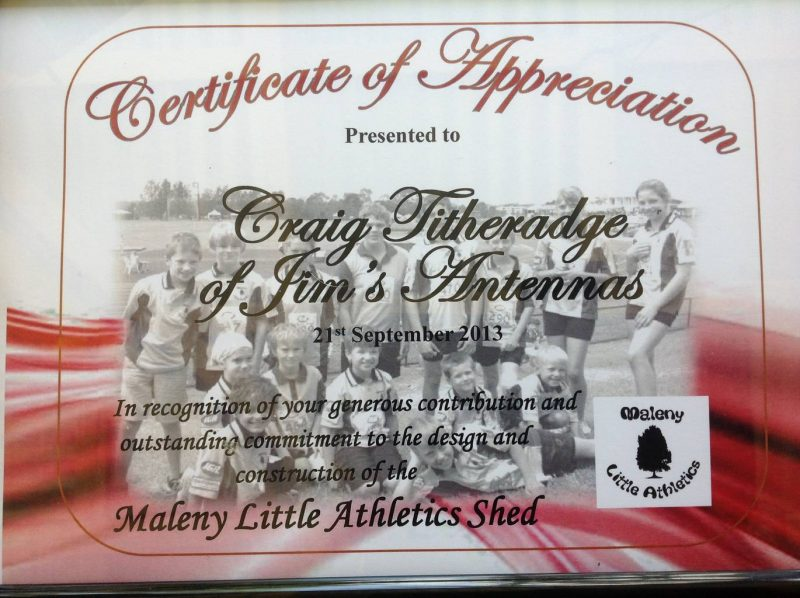 Jim's Antennas Supports Maleny Little Athletics Club, Central Queensland