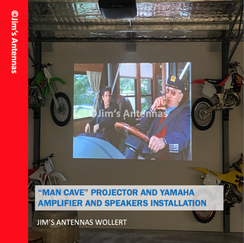 """MAN CAVE"" PROJECTOR AND YAMAHA AMPLIFIER AND SPEAKERS INSTALLATION IN WOLLERT"