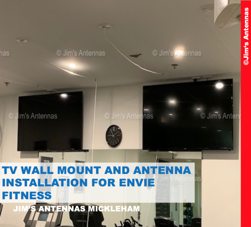 TV WALL MOUNT AND ANTENNA INSTALLATION AT ENVIE FITNESS