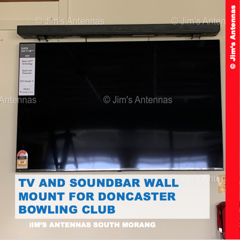 TV AND SOUND BAR WALL MOUNT FOR DONCASTER BOWLING CLUB