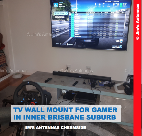 TV WALL MOUNT FOR GAMER IN INNER BRISBANE SUBURB