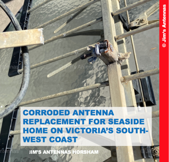 CORRODED ANTENNA REPLACEMENT FOR SEASIDE HOME ON VICTORIA'S SOUTHWEST COAST