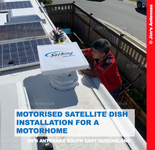 MOTORISED SATELLITE DISH INSTALLATION FOR A MOTORHOME