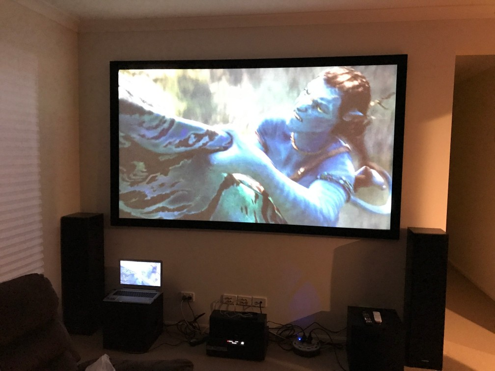 very large tv hung on wall - completed by wall mounting team at jim's  antennas