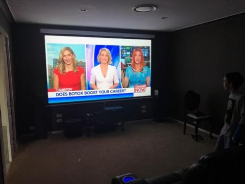 Large and Heavy TV Wall Mounted in Home Theatre space by Jim's Antennas
