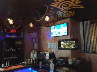 Restaurant bar with Wall Mounted TV by Jim's Antennas
